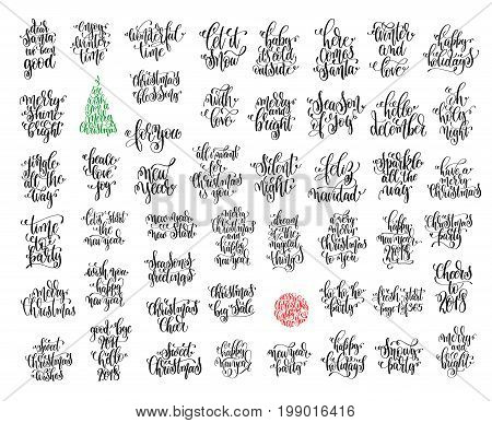 set of 50 black ink christmas and happy new year celebration holidays hand lettering quotes to greeting card, banner, poster, calligraphy vector illustration collection