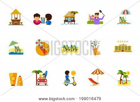 Vacation icon set. Beach Bar Hotel on Water Traveling Man Taking Selfie Beach Umbrella and Lounge Chair Woman Sunbathing Deck Chair Waffle Cone with Palm Sunblock Cream Sunset Man in Hammock