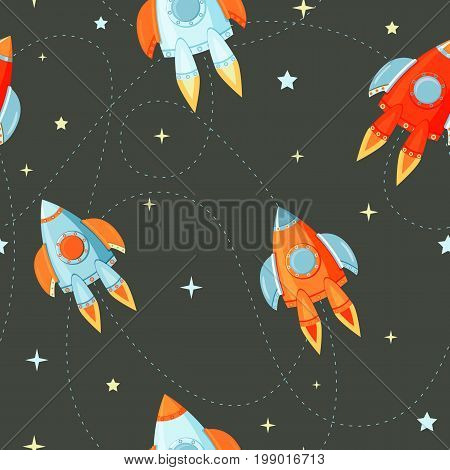 Seamless pattern space rocketship launch for business innovation product, creative idea and management.