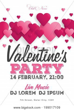 Valentine's Day Invitation Flyer. The Template For The Club, Musical Evenings. Speech By Musicians,