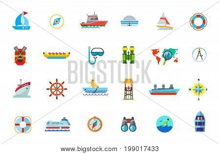 Water journey icon set. Sailing Compass Yacht Snorkel and Mask for Scuba Diving Vacation Destination on Map Cruise Ship Steering Wheel Steamship Life Buoy Cargo Ship Travel Binocular Message in Bottle