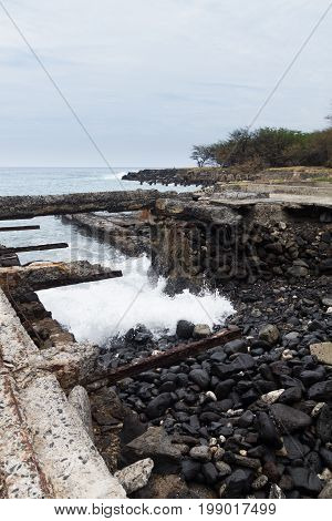 Abandoned sugarmill wharf at Mahukona beach Park, Hawaii