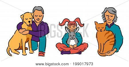Senior man and woman with ginger haired girl, all hugging their pets