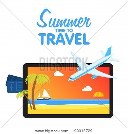 Buy Air Tickets. Traveling On Airplane, Planning A Summer Vacation, Tourism And Journey Objects And
