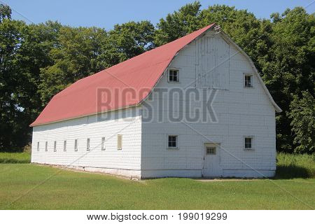 A white barn in Pictured Rocks National Lakeshore, Upper Peninsula of Michigan