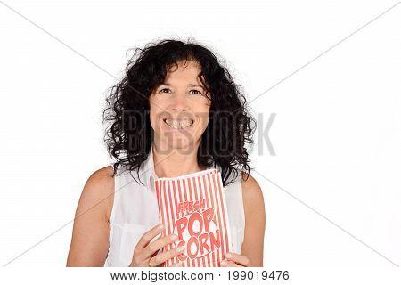 Woman Eating Popcorn.