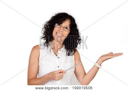 Woman Showing Something On Palm.