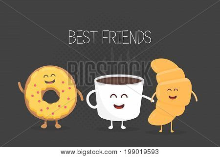 Best Friends Coffee, Croissant And Donut Character Vector Illustration Set. Cartoon Concept For Kids