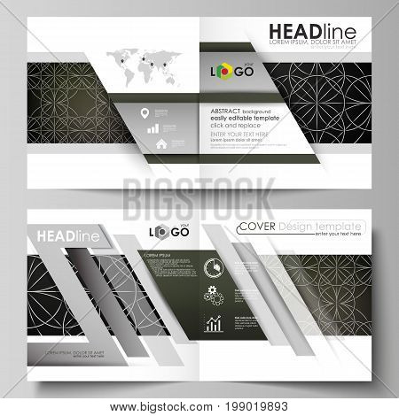 Business templates for square design bi fold brochure, magazine, flyer, booklet or annual report. Leaflet cover, abstract flat layout, easy editable vector. Celtic pattern. Abstract ornament, geometric vintage texture, medieval classic ethnic style.