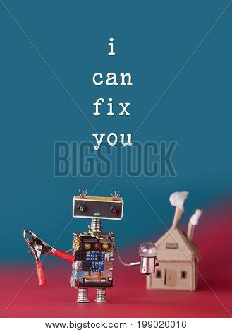 Repair maintenance concept. Friendly house master robot handyman with pliers light bulb. Paper craft building with smoke. I can fix you quote, easy removable text on blue background.
