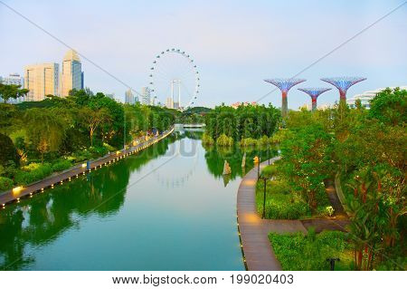 Singapore Park At Twilight