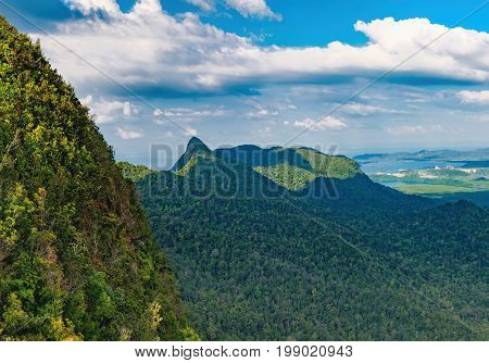 Panoramic view of blue sky sea and mountain seen from Cable Car viewpoint, Langkawi, Malaysia. Picturesque landscape with beaches small Islands and tourist ships at waters of Strait of Malacca