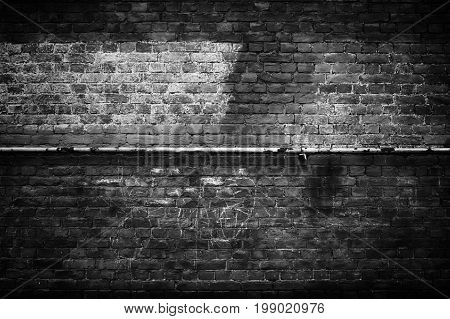 Old brick wall black background texture, stonewall