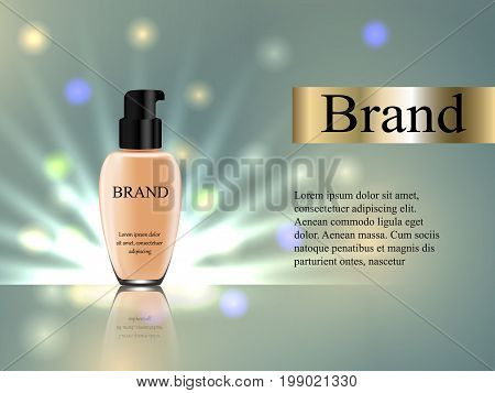 The Design Of Cosmetics, Foundation Cream In A Gentle Light Background With Bright Highlights, Promo