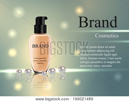 Concealer, Tube On A Gentle Background With Glare And Rays, Freshness, Advertisement, Banner, Catalo