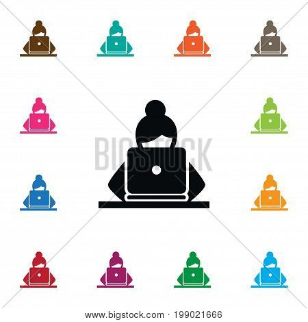 Girl Vector Element Can Be Used For Nerd, Girl, Laptop Design Concept.  Isolated Nerd Icon.
