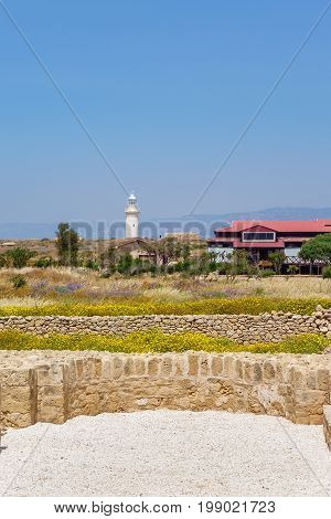 Lighthouse in Archaeological park at Kato Paphos. Paphos, Cyprus