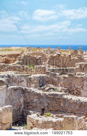 Ruins of ancient greek temple, Saranda Kolones. Archaeological park at Kato Paphos, Cyprus