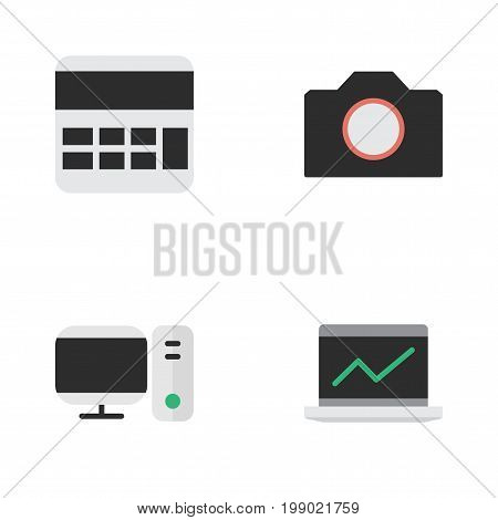 Elements Notebook, Accounting, PC And Other Synonyms Calculator, Photo And Accounting.  Vector Illustration Set Of Simple Gadget Icons.
