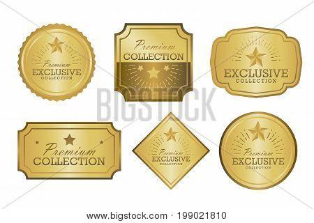 Exclusive Collection Sale Golden Badge Set. Gold Label Vector Illustration