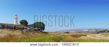 Panorama of Archeological park in Paphos with old Lighthouse. Kato Paphos, Cyprus