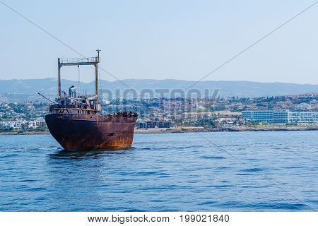 An old shipwreck in water near Cyprus, Paphos