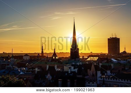 Panorama of Old Riga on sunset with church towers