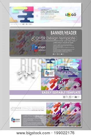 Social media and email headers set, modern banners. Business templates. Easy editable abstract design template, vector layouts in popular sizes. Bright color lines and dots, colorful minimalist backdrop with geometric shapes forming beautiful minimalistic