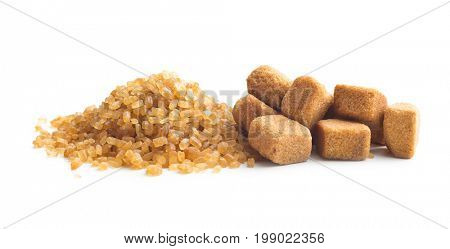 Brown cane sugar and sugar cubes  isolated on white background. Brown sugar.