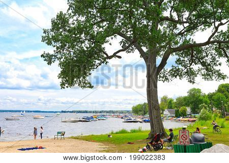 CHAUTAUQUA, NEW YORK - JULY 28, 2017:  Chautauqua Institution is a waterfront village in New York that attracts thousands annually.