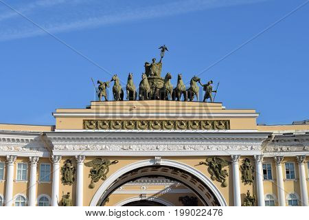 St. Petersburg Russia - JULY 27 2017: Triumphal arch Chariot Glory on General Staff building.