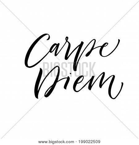 Carpe diem - latin phrase means Capture the moment. Ink illustration. Modern brush calligraphy. Isolated on white background.