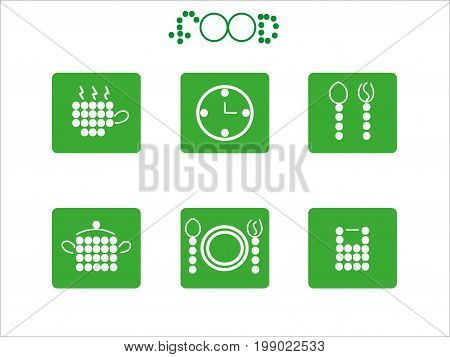 Food Icon Set from circles vector stock art