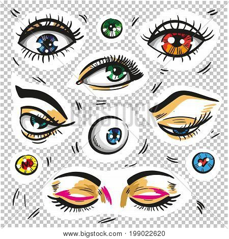 Fashion badges. Vintage, retro concept Eyes fashion stickers patch badges isolated