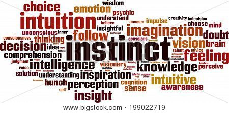 Instinct word cloud concept. Vector illustration on white