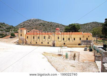 Entrance to the monastery of Gouverneto (1537) on the island of Crete. Greece