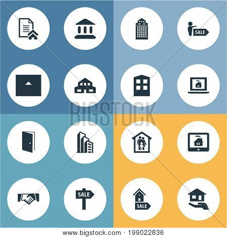 Elements Online Property, Apartment, Promotion And Other Synonyms Insurance, Contract And Building.  Vector Illustration Set Of Simple Estate Icons.