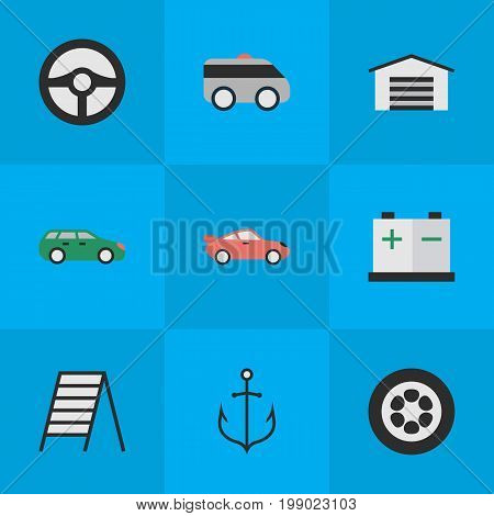 Elements Sedan, Shed, Accumulator And Other Synonyms Charge, Coupe And Ladder.  Vector Illustration Set Of Simple Transportation Icons.