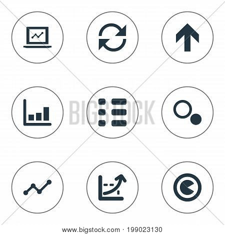 Elements Menu, Upward, Segment And Other Synonyms Fluctuation, Coordinate And Randomization.  Vector Illustration Set Of Simple Diagram Icons.