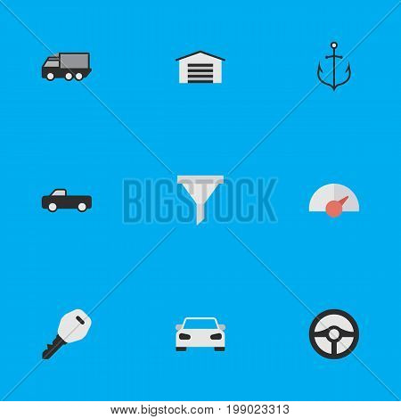 Elements Lorry, Open, Strainer And Other Synonyms Lock, Automobile And Armature.  Vector Illustration Set Of Simple Shipping Icons.