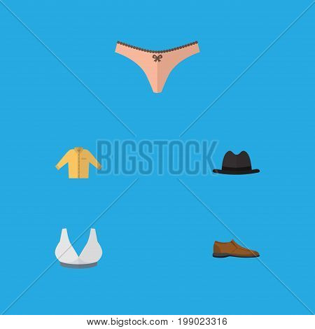 Flat Icon Clothes Set Of Male Footware, Brasserie, Panama And Other Vector Objects