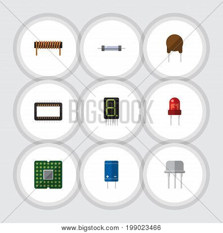 Flat Icon Electronics Set Of Unit, Display, Recipient And Other Vector Objects