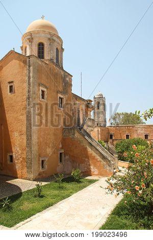 Monastery of the Holy Trinity (1612) on the island of Crete. Greece
