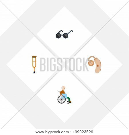 Flat Icon Cripple Set Of Audiology, Stand, Spectacles Vector Objects