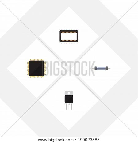 Flat Icon Electronics Set Of Receiver, Resistor, Mainframe And Other Vector Objects