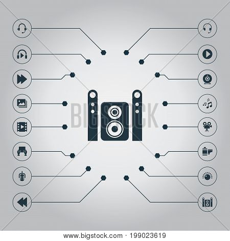Elements Music Listening, Web Cam, Earmuff And Other Synonyms Hand, Listen And Headphones.  Vector Illustration Set Of Simple Multimedia Icons.