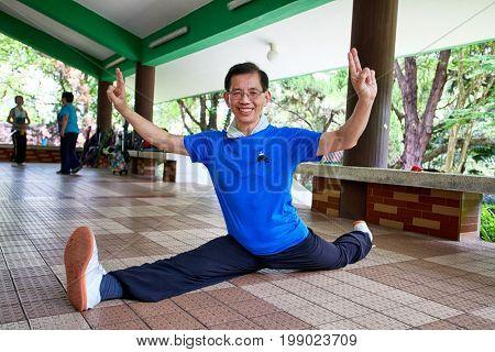 HONG KONG – JULY 12, 2017: An unidentified athlete at the Wushu School in Hong Kong