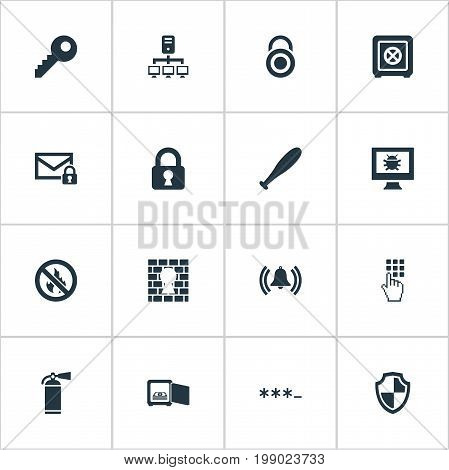 Elements Extinguisher, Virus, Stick And Other Synonyms Code, Convict And Dartboard.  Vector Illustration Set Of Simple Secure Icons.