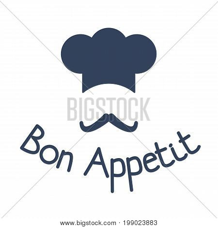 Icon of chef with mustache and sign bon appetit, concept for restaurant and cafe, vector illustration