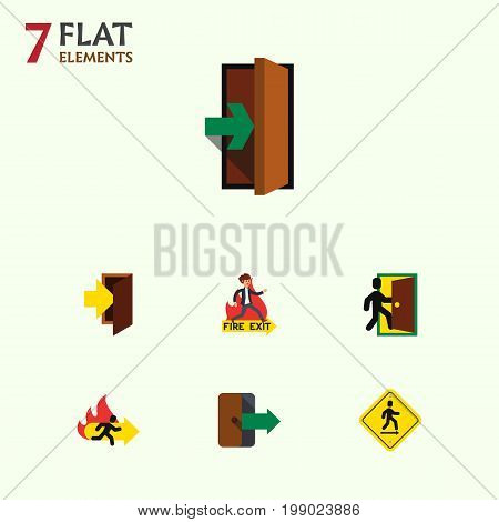 Flat Icon Door Set Of Entrance, Fire Exit, Entry And Other Vector Objects